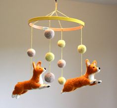 Felted corgi baby mobile by FiberFriends on Etsy.