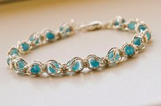 chain beaded bracelet angelite gemstone by LumaHandmadeJewelry Chainmaille Bracelet, Beaded Bracelets, Shabby, Blue Beads, Handmade Art, Gemstone Beads, Cyber, Mall, Jewerly