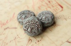 3 mushroom beads polymer beads rustic clay by RedStarArtBeads, £3.95