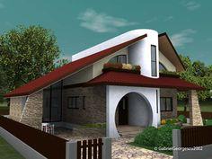 Casa cu etaj 10   Proiecte de case personalizate   Arhitect Gabriel Georgescu & Echipa Kerala House Design, Modern House Design, Tropical Garden Design, Architectural House Plans, Kerala Houses, Design Case, Architect Design, Home Fashion, Bungalow