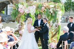 Bride %26 Groom at Romantic Alfresco Ceremony    Photography: Troy Grover Photographers   Read More:  http://www.insideweddings.com/weddings/a-romantic-alfresco-destination-wedding-with-a-soft-color-palette/717/