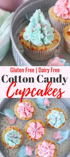 Super easy to make Gluten free Cotton Candy Cupcakes. Super moist and fluffy. Perfect dessert for any celebration. This recipe is dairy - free Lemon Desserts, Great Desserts, Dessert Recipes, Cupcake Recipes, Dessert Ideas, Strawberry Desserts, Yummy Recipes, Free Recipes, Cookie Recipes