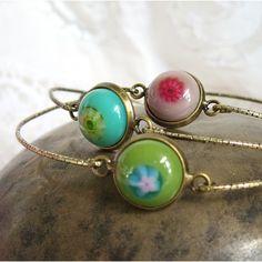 Fused Glass Bohemian Bangle Set, Stacking Bracelets, Stacking Bangles, Boho Gypsy Jewelry