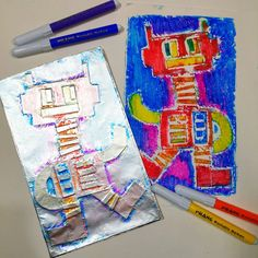 Drawing For Kids, Art For Kids, Collagraph Printmaking, Dixon Ticonderoga, Blind Contour Drawing, Robots Drawing, Cassie Stephens, Business Envelopes, Art Journal Prompts