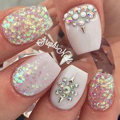 BrightWhite #whitenails#taperedsquare#shortnails#love#notpolish#cutenails#glamandglits#stephsnails#lodinails#acrylicnails#nailpro#nailprodigy#glitter#glitterombre#iridescentglitter#chunkyglitter#diamonds#studs#allwhite#stephset by _stephsnails_