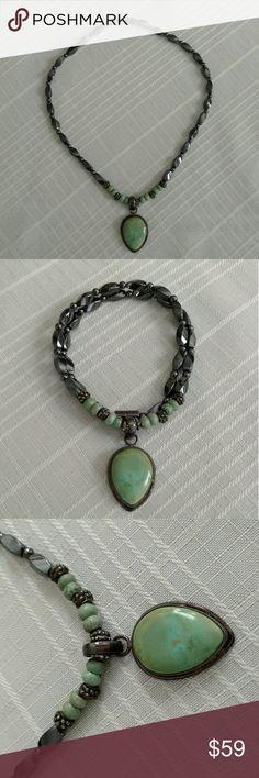 Hematite and Chrysoprase Jewelry Set Hematite and Chrysoprase necklace and earrings set. Never worn. Jewelry