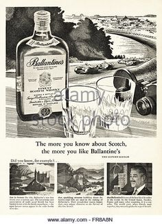 Original vintage advert from 1950s. Advertisement dated 1959 advertising BALLANTINE'S scotch whisky. - Stock Image