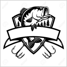 Fishing logo. Bass fish with template club emblem. Fishing theme vector illustration. Isolated on white. Stock Vector - 123064808 Fishing Quotes, Fishing Humor, Fishing Shirts, Fishing Rod, Fishing Tips, Fishing Tattoos, Fishing Boats, Trout Fishing, Fishing Bobbers