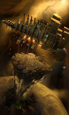 Dead Space, USG Ishimura conducting a planet crack
