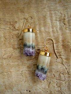 Amethyst Druzy Earrings Drusy Quartz Stalactite by julianneblumlo