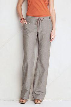 Womens Linen Cotton Pattern Wide Leg Pants from Lands End