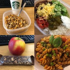 today's food! ❄️ B: @starbucks hot chocolate and cheerios ☕️ L: chilli con carne with rice and all the trimmings 🌶 S: an apple and a chocolatey nutty cereal bar this afternoon🍎 D: protein pasta with chilli pesto, tomatoes, peas & cheese! 🧀 #fooddiary #starbucks #hotchocolate #cheerios #cereals #chili #chiliconcarne #rice #mealprep #foodprep #apple #fruit #protein #pasta #peas #fdoe #humpday