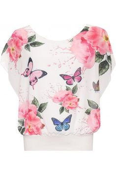 Myrtle Floral Butterfly Chiffon Top | WearAll