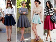 Saia com pregas ou saias rodadas, assim elas são chamadas e causam dúvidas na hora de compor looks. Veja como usar saia rodada!
