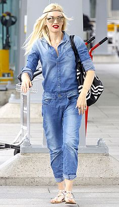 Denim Duds Gwen Stefani arrived in London on Aug. 3 wearing a G-Star jumpsuit.