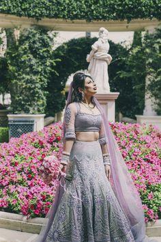 Real Indian Weddings - Manita and Harpreet | WedMeGood | Lavender and Grey Tarun Tahiliani Lehenga with Embroidery #lehenga #lavender #indianbride #indianlehenga #indianwedding #realwedding #bridal