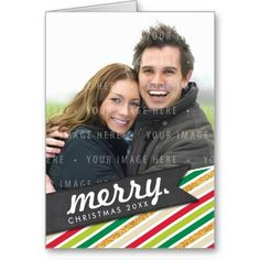 PHOTO HOLIDAY GREETING CARD cute and bright, angled fun colorful stripes, chalkboard flag...  Have yourself a trendy little christmas this year with these DIY templates available for purchase