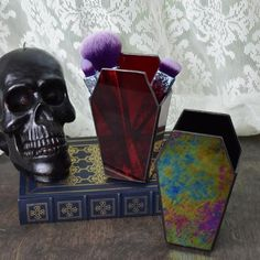 Stained Glass Coffin Makeup Brush Holder : Vanity Storage Makeup Gift