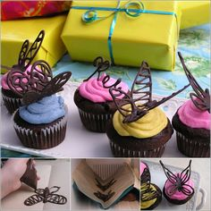 How About Making Chocolate Butterflies to Decorate Your Cupcakes?