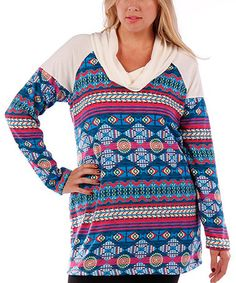 Another great find on #zulily! White & Blue Tribal Cowl Neck Tunic - Plus #zulilyfinds