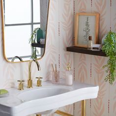 Arrives by Fri, Oct 29 Buy Drew Barrymore Flower Home Peach and White Vintage Palm Peel and Stick Wallpaper at Walmart.com