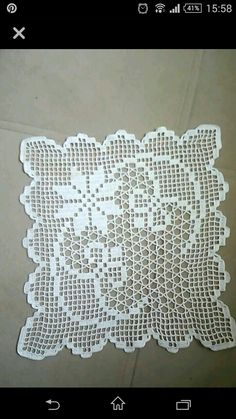 Crochet doilies square white set 9 06 x 9 06 in - Her Crochet Crochet Patterns Filet, Crochet Blocks, Crochet Borders, Crochet Diagram, Crochet Chart, Crochet Motif, Crochet Designs, Crochet Lace, Crochet Stitches