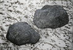 Anne Kimiläinen; Kohtaaminen (Encounter), 57 x 40 cm, 2014, charcoal, tempera