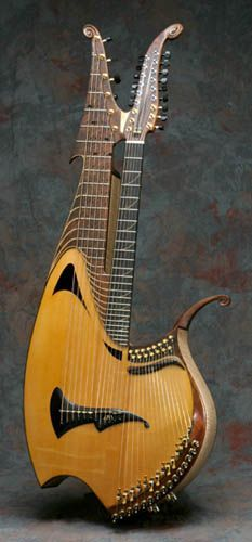 39-string harp-guitar with sympathetic strings, by Fred Carlson