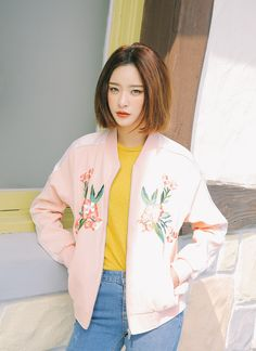 Striped Sleeve Flower Decorated Jacket | STYLENANDA