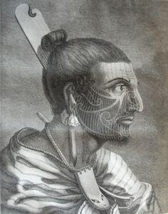 """""""Tête d'un guerrier de la Nouvelle-Zélande"""", tome III, planche 12.  Relation des voyages entrepris par ordre de Sa Majesté britannique, actuellement régnante ; pour faire des découvertes dans l'hémisphère méridional, et successivement exécutés par le commodore Byron, le capitaine Carteret, le capitaine Wallis et le capitaine Cook, dans les vaisseaux Le Dauphin, Le Swallow et L'Endeavour... (1774) (Bibliothèque universitaire Droit-Lettres de Dijon) http://scd.u-bourgogne.fr/"""