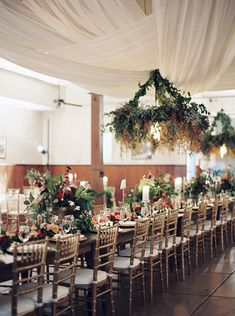 Jewel Toned Swags, Table Runners And Suspended Flowers ~ we ❤ this! moncheribridals.com
