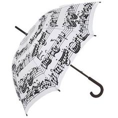 Black & White Music Notes Umbrella - Black Notes on White Background