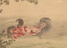 Kusozu: the death of a noble lady and the decay of her body, from a series of nine 18th-century watercolours