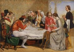 1849.John Everett Millais. Lorenzo And Isabella.Galeri Seni Walker,Liverpool, Pre-Raphaelites collection,Liverpool museums,103x142.8 cm;frame:136.5x 177.5cm.