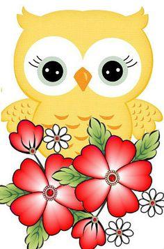 Cute Owls Wallpaper, Flower Wallpaper, Owl Clip Art, Owl Art, Colorful Drawings, Cute Drawings, Fabric Painting, Diy Painting, Owl Crafts