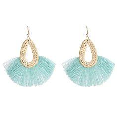 Sweet Clip on Earrings Bohemian Fringe Resin Bead Fabric Thread for Girls Women Blue