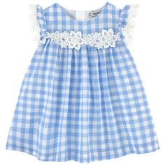 Cotton voile Voile lining Light item Flared hem Crew neck Flutter sleeves Gather detail on the chest Invisible zipper at the back Fancy lace Gingham print Frocks For Girls, Dresses Kids Girl, Little Girl Dresses, Kids Outfits, Baby Girl Dress Patterns, Baby Dress Design, Smocked Baby Clothes, Cute Kids Fashion, American Girl Clothes