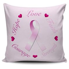 Pink Ribbon Cancer Courage - Cushion Covers