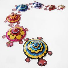 Make this beautiful Mandala Turtle Family or design your own turtles with Hattifant's Turtle printables.