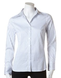 Stripe Structured Blouse, White/Periwinkle