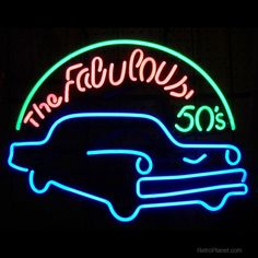 Fabulous 50s Blue Classic Car Neon Sign | Fifties Diner Signs ...