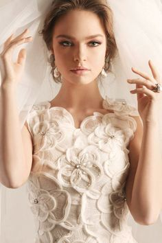 Stunning Scalloped Sleeved Wedding Dress With Hand-made Embroidered Floral Bodice