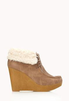 Cozy Chukka Boots | FOREVER21 Cute and cozy  #Wedge #Booties #FauxLeather