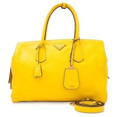 Pre-owned Prada Vitello Grain Shopping Bag (£1,210) ❤ liked on Polyvore featuring bags, yellow, leather shopper, prada bags, crystal clear bags, shopping bag and zip top bag