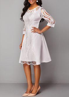 Three Quarter Sleeve Back Zipper Round Neck Lace Dress Plus Size Dresses, Dresses For Sale, Dresses Online, Women's Fashion Dresses, Casual Dresses, Briadsmaid Dresses, Bridesmade Dresses, Homcoming Dresses, Club Party Dresses