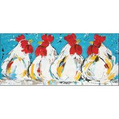schilderij kippen 60 x 120 cm
