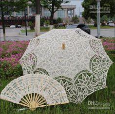 Wholesale Wedding Decorations - Buy Retro Ivory Handmade Cotton Flower Lace Parasol Umbrella & Fan Set Wedding Bridal Decor, $28.99 | DHgate