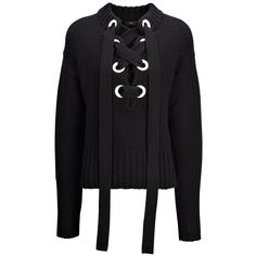 Joseph Chunky Cashmere Knit Lace Sweater in BLACK ($815) ❤ liked on Polyvore featuring tops, sweaters, shirts, black, lacy sweater, cut loose tops, loose tops, joseph sweater and lacy tops