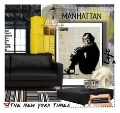 """Manhattan Loft with Loui Jover artwork!"" by helia ❤ liked on Polyvore featuring interior, interiors, interior design, home, home decor, interior decorating, VerPan, Jennifer Falter, iloveNY and contestentry"