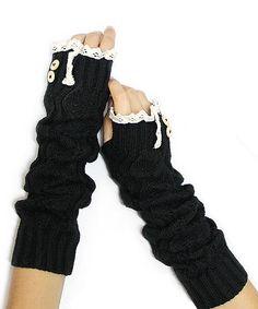 Black Lace-Trim Arm Warmers | zulily